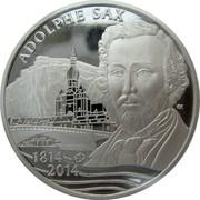 Belgium 10 Euro 200th Anniversary Birth of Adolphe Sax 2014 Proof KM# 339 ADOLPHE SAX EK 1814 - 2014 coin obverse