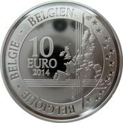 Belgium 10 Euro 200th Anniversary Birth of Adolphe Sax 2014 Proof KM# 339 BELGIQUE BELGIE BELGIEN 10 EURO 2014 LL QP coin reverse