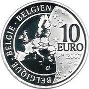 Belgium 10 Euro 50 Years Treaty of Rome 2007 Proof KM# 260 BELGIQUE BELGIE BELGIEN 10 EURO Q P 2007 coin obverse