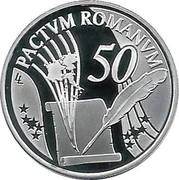 Belgium 10 Euro 50 Years Treaty of Rome 2007 Proof KM# 260 PACTUM ROMANUM LL 50 coin reverse