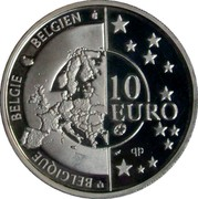 Belgium 10 Euro 60th Anniversary of Liberation 2005 Proof KM# 252 BELGIQUE BELGIE BELGIEN 10 EURO Q P coin obverse