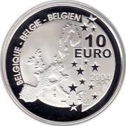 Belgium 10 Euro 75 Years of Tintin 2004 Proof KM# 236 BELGIQUE BELGIE BELGIEN 10 EURO 2004 LL coin obverse