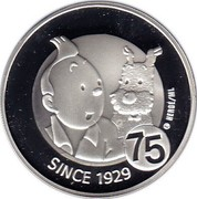 Belgium 10 Euro 75 Years of Tintin 2004 Proof KM# 236 SINCE 1929 75 © HERGÉ ML coin reverse