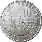 Belgium 10 Euro 75th Anniversary of the Death of Pierre de Coubertin 2012 Proof KM# 320 BELGIQUE BELGIE BELGIEN 10 EURO QP 2012 coin obverse