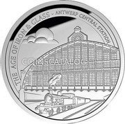 Belgium 10 Euro (Antwerp Central Station) THE AGE OF IRON & GLASS - ANTWERP CENTRAL STATION coin reverse