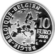 Belgium 10 Euro Beijing Olympics 2008 Proof KM# 268 BELGIQUE BELGIE BELGIEN 10 EURO 2008 QP coin obverse