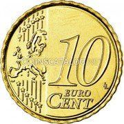 Belgium 10 Euro Cent KM# 298 Country Standart Coinage 10 LL EURO CENT coin reverse