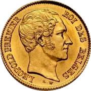 Belgium 10 Francs 1849 KM# 18 Decimal Coinage LEOPOLD PREMIER ROI DES BELGES L.W coin obverse