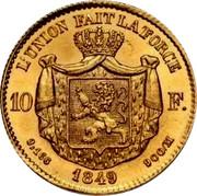 Belgium 10 Francs 1849 KM# 18 Decimal Coinage L'UNION FAIT LA FORCE 10F. 3,106 1849 900/M coin reverse