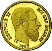 Belgium 10 Francs 1867 KM# A33 Decimal Coinage LEOPOLD II ROI DES BELGES 1867 L W coin obverse