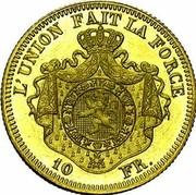 Belgium 10 Francs 1867 KM# A33 Decimal Coinage L'UNION FAIT LA FORCE 10 FR. coin reverse