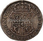 UK 10 Shillings 1691 KM# 133 Scotland coin reverse