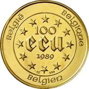 Belgium 100 ECU Maria Theresia 1989 KM# 175 BELGIË BELGIQUE 100 ECU 1990 Q P 1 OZ 999 BELGIEN coin reverse