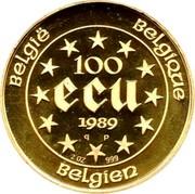 Belgium 100 ECU Maria Theresia. Piedfort 1989 qp Proof KM# P12 BELGIE BELGIQUE BELGIEN 100 ECU 1989 Q P 2 OZ 999 coin reverse