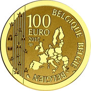 Belgium 100 Euro 50th Aniversary of the Death of Rene Magritte 2017 Proof 100 EURO 2017 BELGIQUE BELGIE BELGIEN coin obverse