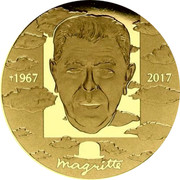 Belgium 100 Euro 50th Aniversary of the Death of Rene Magritte 2017 Proof 1967 2017 MAGRITTE coin reverse