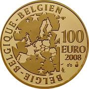 Belgium 100 Euro 50th Anniversary of Brussels Exposition 2008 Proof KM# 272 BELGIE BELGIQUE BELGIEN Q P 100 EURO 2008 LL coin obverse