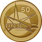 Belgium 100 Euro 50th Anniversary of Brussels Exposition 2008 Proof KM# 272 50 EXPO 58 coin reverse