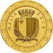 Malta 100 Euro 50th Anniversary of the Central Bank of Malta 2018 Proof 100 EURO 2018 MALTA coin obverse