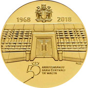 Malta 100 Euro 50th Anniversary of the Central Bank of Malta 2018 Proof 1968 2018 50 ANNIVERSARJU BANK CENTRALI TA' MALTA coin reverse