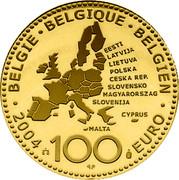 Belgium 100 Euro European Union Enlargement 2004 KM# 239 100 EURO 2004 BELGIE BELGIQUE BELGIEN EESTI LATVIJA LIETUVA POLSKA CEŠKA REP. SLOVENSKO MAGYARORSZAG SLOVENIJA MALTA CYPRUS coin obverse