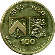 Belgium 100 Florijns Karel Sys 1980 UNC 1830 1980 100 PH GELDIGHEIDSDATUM 20 31 12 80 coin reverse