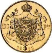 Belgium 100 Francs Albert I. Pattern 1912 ultra rare KM# Pn193 100 FRS 19 12 G. DEVREESE coin reverse