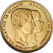 Belgium 100 Francs (Duke of Brabant's Wedding) X# M3.1 L.L. PH. M.V. DUC DE BRABANT M. H. A. DUCHESSE DE BRABANT 21-22 AOUT coin reverse