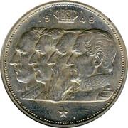 Belgium 100 Francs Leopold III 1949 KM# 139.2 1949 RAU coin obverse