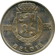 Belgium 100 Francs Leopold III 1949 KM# 139.2 100 FRK BELGIË coin reverse