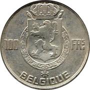 Belgium 100 Francs Leopold III 1950 KM# 138.1 100 FRS BELGIQUE coin reverse