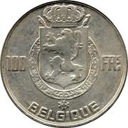 Belgium 100 Francs (Leopold III) KM# 138.2 100 FRS BELGIQUE coin reverse