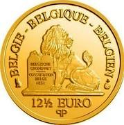 Belgium 12 1/2 Euro King Philip 2015 Proof KM# 355 BELGIQUE BELGIE BELGIEN BELGISCHE GRONDWET CONSTITUTION BELGE 1831 12 1/2 EURO Q P coin obverse