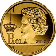 Belgium 12 1/2 Euro Queen Paola - Dynasty Anniversary 2012 Proof KM# 321 PAOLA 2012 coin reverse