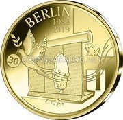 Belgium 12,5 Euro (30 Years of the Fall of the Berlin Wall) BERLIN 1989 2019 30 coin obverse
