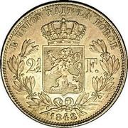 Belgium 2 1/2 Francs 1848 KM# 11 Decimal Coinage L'UNION FAIT LA FORCE 2 1/2 F. 1848 coin reverse