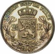 Belgium 2 1/2 Francs 1849 KM# 12 Decimal Coinage L'UNION FAIT LA FORCE 2 1/2 F. 1849 coin reverse