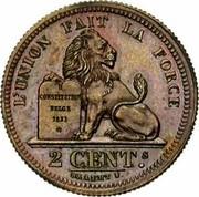 Belgium 2 Centimes 1833 KM# 4.1 Decimal Coinage L'UNION FAIT LA FORCE CONSTITUTION BELGE 1831 * 2 CENT.S BRAEMT F. coin reverse