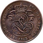 Belgium 2 Centimes 1863 KM# 4.2 Decimal Coinage LEOPOLD PREMIER ROI DES BELGES 1864 coin obverse