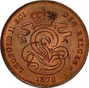 Belgium 2 Centimes 1870 KM# 35.1 Decimal Coinage LEOPOLD II ROI DES BELGES 1869 coin obverse
