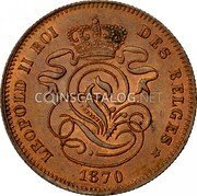Belgium 2 Centimes 1870 KM# 35.1 Decimal Coinage coin reverse