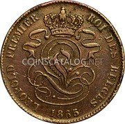 Belgium 2 Centimes KM# 4.2a Decimal Coinage coin obverse