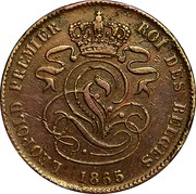 Belgium 2 Centimes KM# 4.3 Decimal Coinage LEOPOLD PREMIER ROI DES BELGES 1865 coin obverse