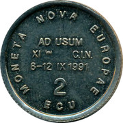 Belgium 2 ECU 150th Anniversary of the Royal Belgian Numismatic Society 1991 UNC MONETA NOVA EUROPEA 2 ECU AD USUM XI C I N 8-12 IX 1991 coin obverse