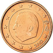 Belgium 2 Euro Cent Albert II - 1st type - 1st portrait 2002 Sets only KM# 225 A II 2004 coin obverse