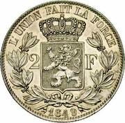 Belgium 2 Francs 1849 KM# 10 Decimal Coinage L'UNION FAIT LA FORCE 2 F 1849 coin reverse