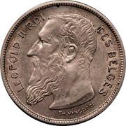 Belgium 2 Francs 1904 KM# 58.1 Decimal Coinage LEOPOLD II ROI DES BELGES TH.VINÇOTTE coin obverse