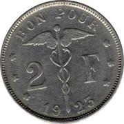 Belgium 2 Francs 1923 KM# 91.2 Decimal Coinage BON POUR 2 F 19 23 coin reverse