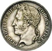 Belgium 2 Francs KM# 9.1 Decimal Coinage LEOPOLD PREMIER ROI DES BELGES BRAEMT F. coin obverse
