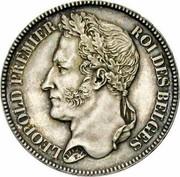 Belgium 2 Francs (Leopold I) KM# 9.2 LEOPOLD PREMIER ROI DES BELGES BRAEMT F. coin obverse